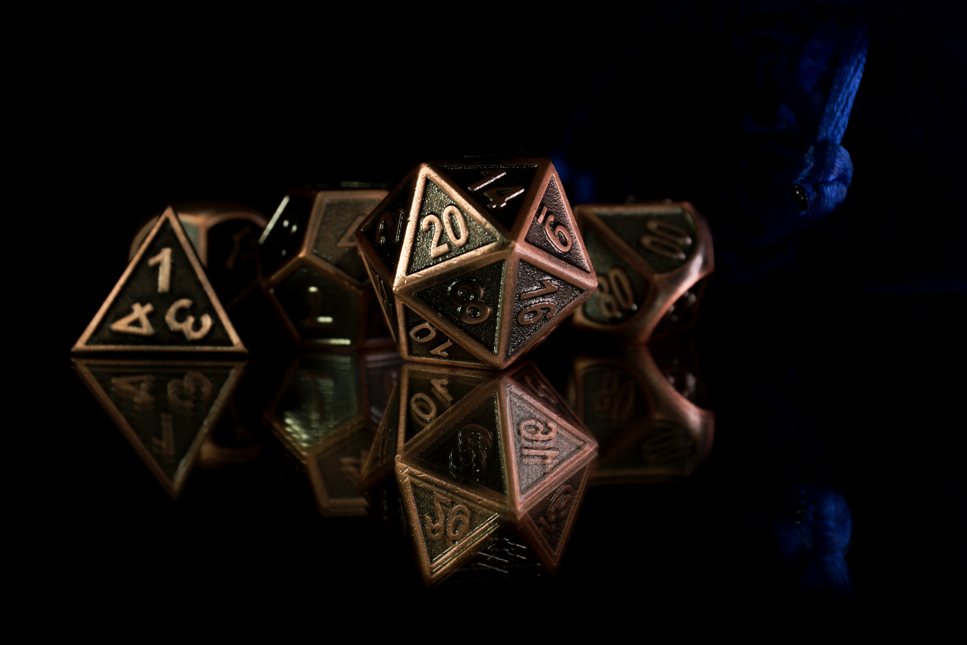 A set of polyhedral dice used for role playing games such as Dungeons & Dragons.